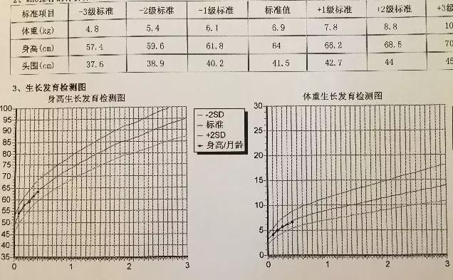 长曲线参考值,正常范围是正负两个标准差之间(即上图中-2级标准